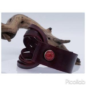 Genuine Leather Bracelet in Burgundy